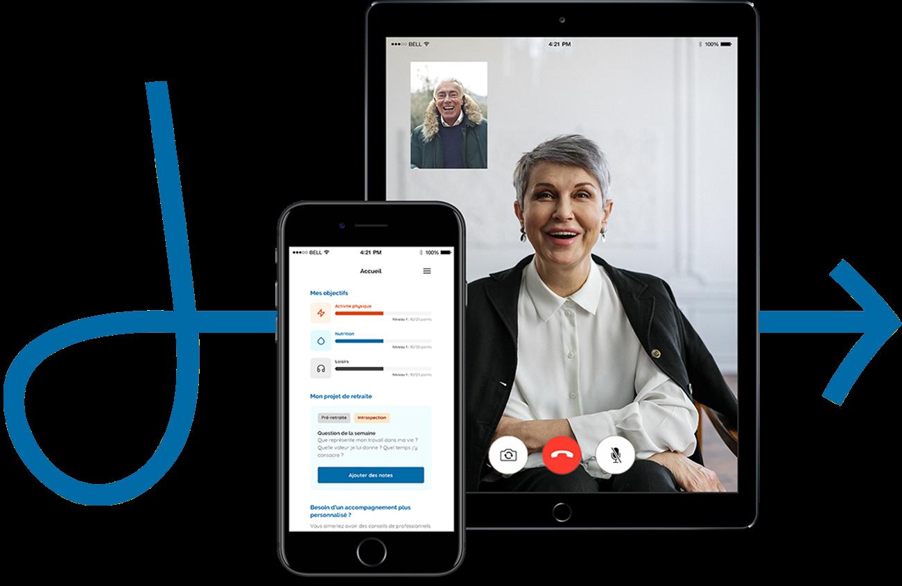 Interface personnelle Jubiliz et consultation avec des spécialistes de la santé